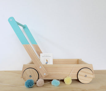 Aqua Wooden Trolley