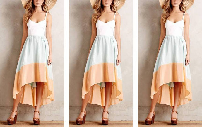 Colorblock High-Low Ankle Length Dress