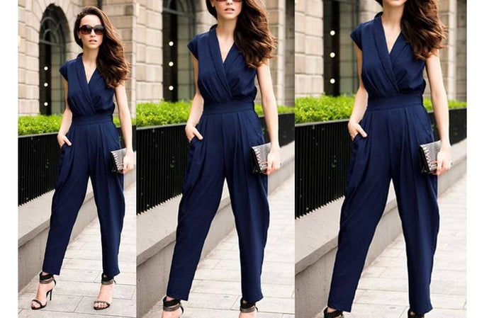 Navy Blue Wrapped Jumpsuit