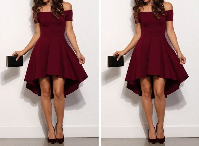 Wine Off-Shoulder Scuba Dress
