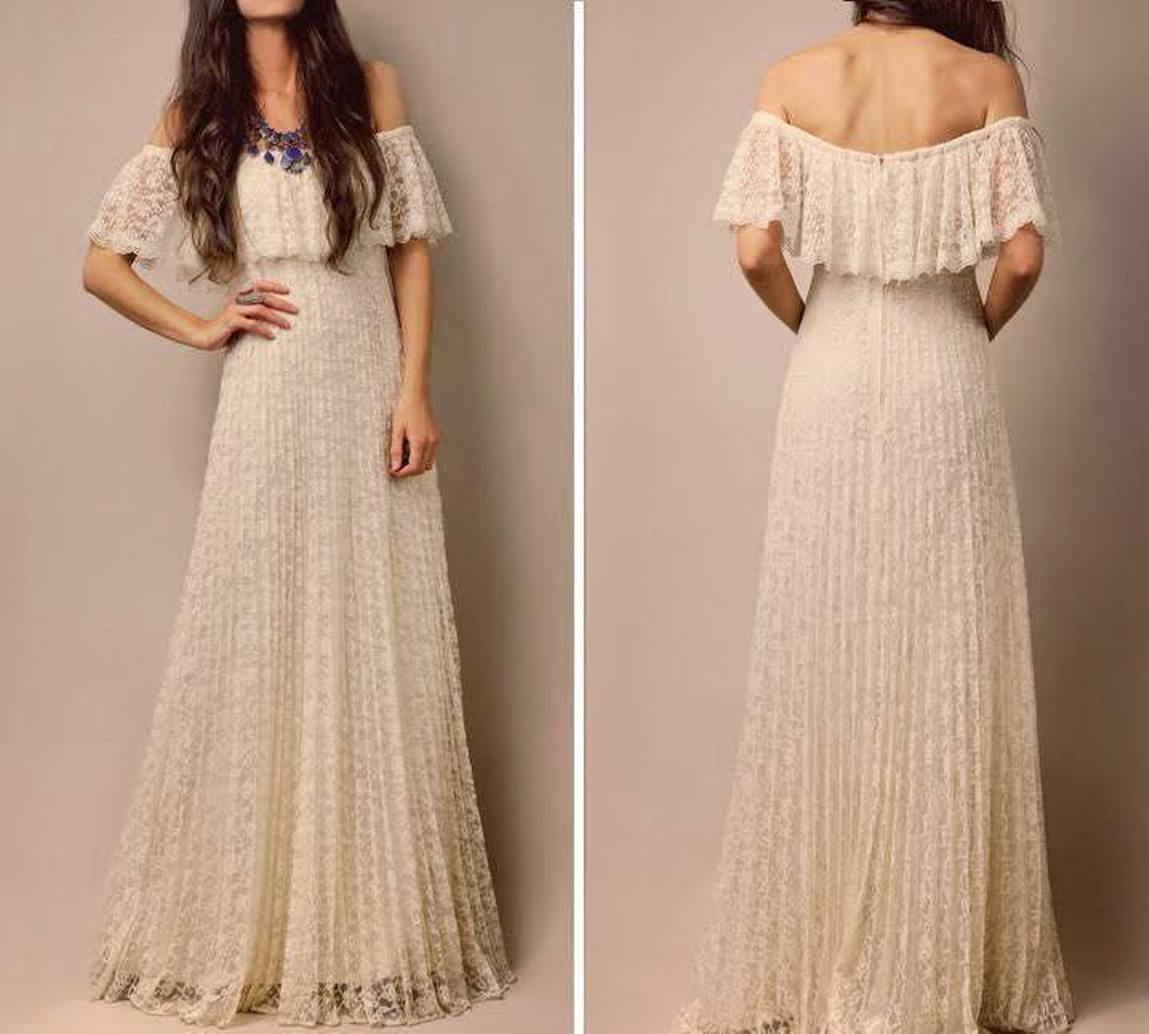 White Off-Shoulder Layered Lace Maxi Dress