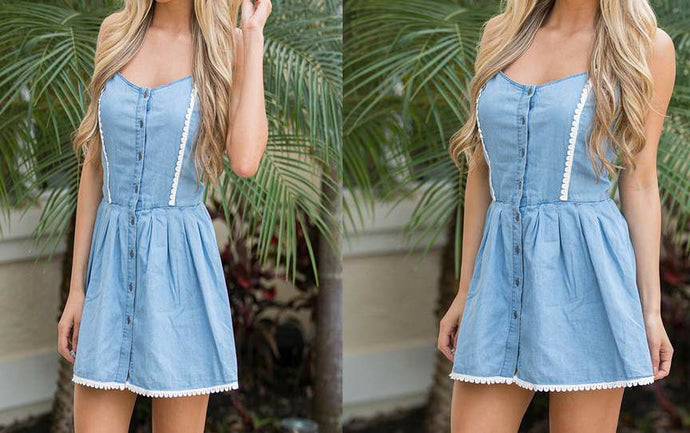 Blue denim Lace-Hem Midi Dress