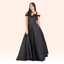 Black Flared Frill Gown