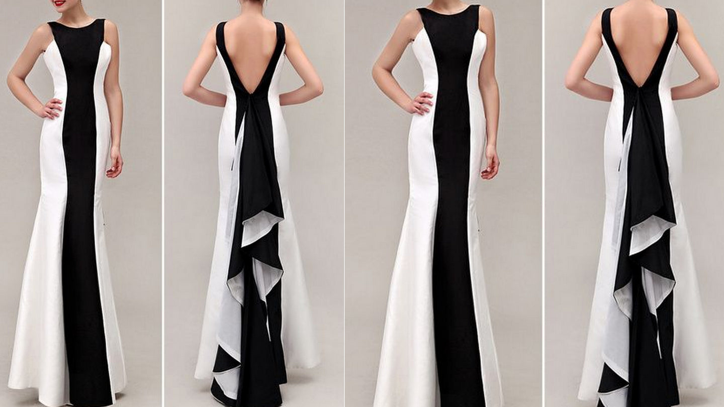Monochrome Back Frill Maxi Gown