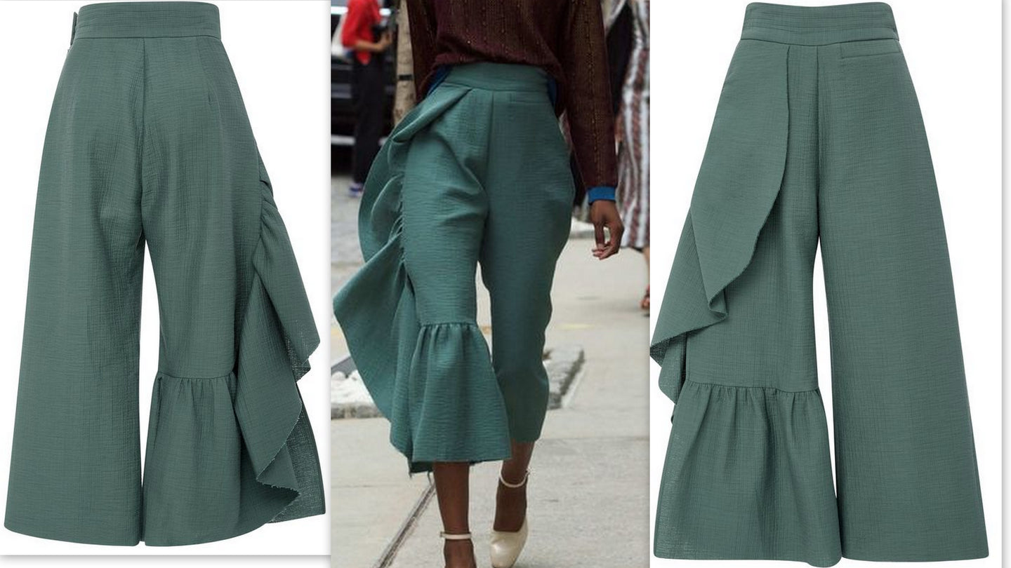 Light Turquoise Green Cropped Ruffle Pants