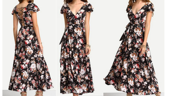 Black Floral Print Tie-Waist Dress