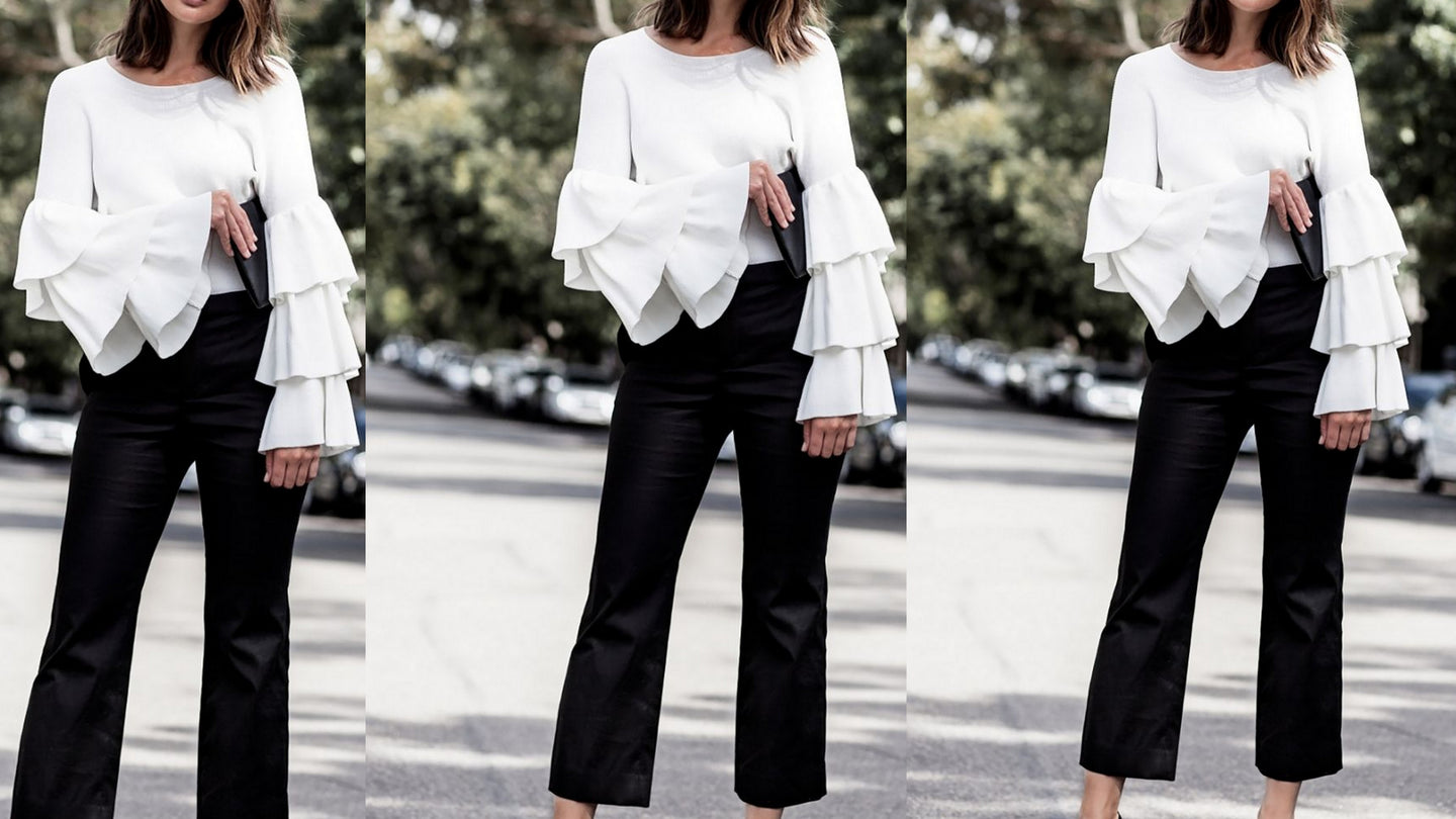White Layered Bell Sleeves Top