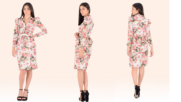 Drape Knot Rose Print Midi Dress