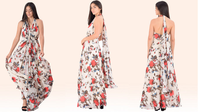 White Rose Print Drape Maxi Dress