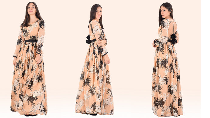 Peach-Orange Floral Backless Maxi Dress