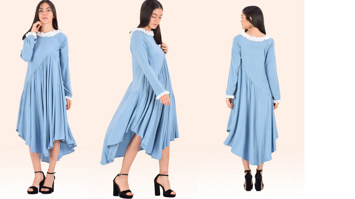 Ice-Blue Asymmetrical Gather Shift Dress