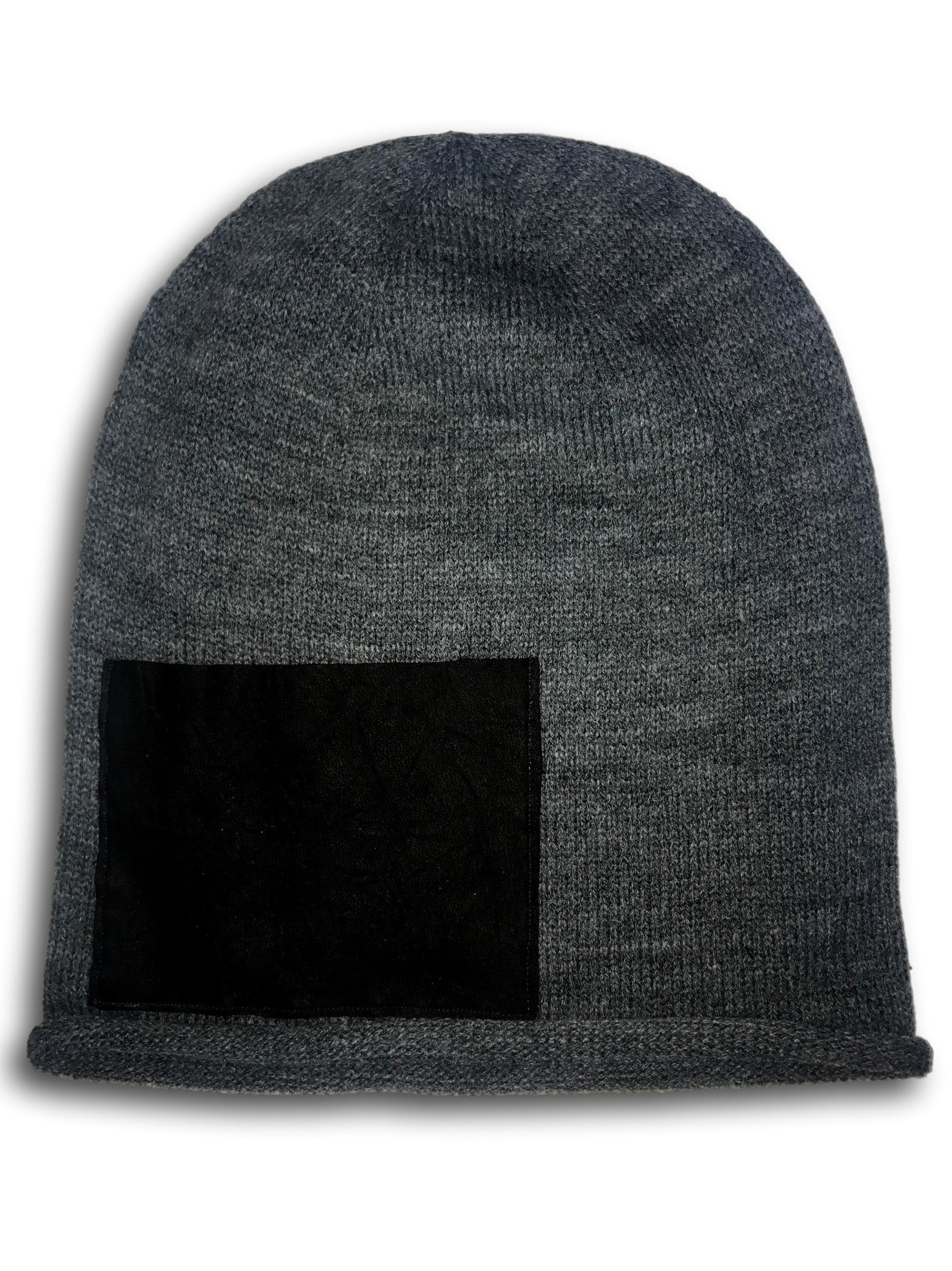 Leather Pocket Slouch Beanie Grey