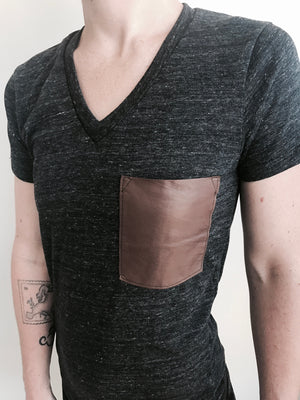 Leather Pocket V Neck