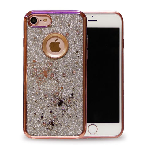 IPHONE CHROME ROSE GOLD BUTTERFLY RHINESTONE CASE