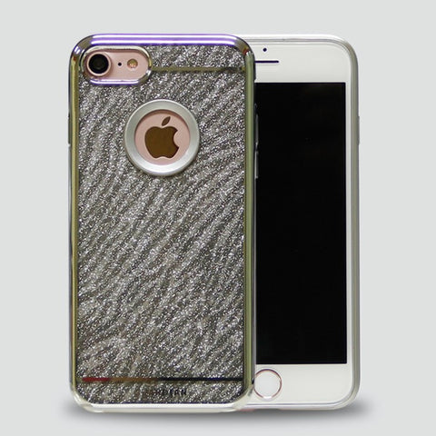 IPHONE SILVER GLITTER ZEBRA CHROME CASE