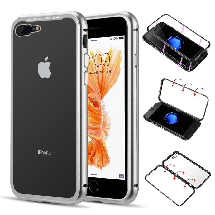 ALUMINUM MAGNETIC INSTANT SNAP CASE WITH TEMPERED GLASS BACK PLATE FOR IPHONE 8 / 7 PLUS - WHITE
