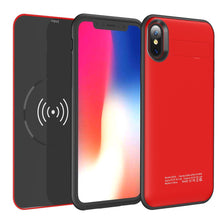 Load image into Gallery viewer, FOR IPHONE X 5000MAH UV SHINE BATTERY CASE W/ DETACHABLE WIRELESS CHARGING POWER PACK - RED