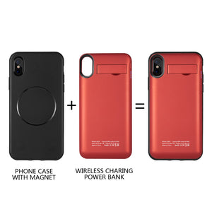 FOR IPHONE X 5000MAH UV SHINE BATTERY CASE W/ DETACHABLE WIRELESS CHARGING POWER PACK - RED