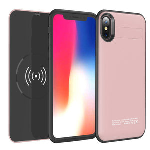 FOR IPHONE X 5000MAH UV SHINE BATTERY CASE W/ DETACHABLE WIRELESS CHARGING POWER PACK - Rose Gold