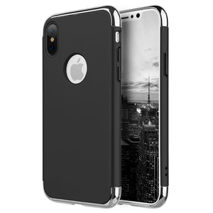APPLE IPHONE X GRIPTECH 3-PIECE RUBBERIZED PROTECTIVE CASE WITH SILVER CHROME FRAME - BLACK