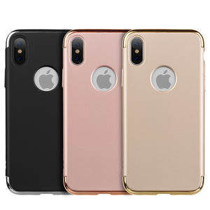 APPLE IPHONE X GRIPTECH 3-PIECE RUBBERIZED PROTECTIVE CASE WITH SILVER CHROME FRAME - ROSE GOLD