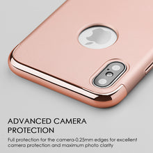 Load image into Gallery viewer, APPLE IPHONE X GRIPTECH 3-PIECE RUBBERIZED PROTECTIVE CASE WITH SILVER CHROME FRAME - ROSE GOLD