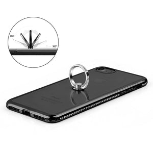 APPLE IPHONE DIAMOND JEWEL TRANSPARENT TPU RING CASE WITH CHROME BLING FRAME $15.00