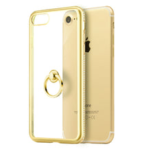 Load image into Gallery viewer, APPLE IPHONE DIAMOND JEWEL TRANSPARENT TPU RING CASE WITH CHROME BLING FRAME
