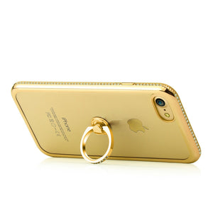 APPLE IPHONE DIAMOND JEWEL TRANSPARENT TPU RING CASE WITH CHROME BLING FRAME
