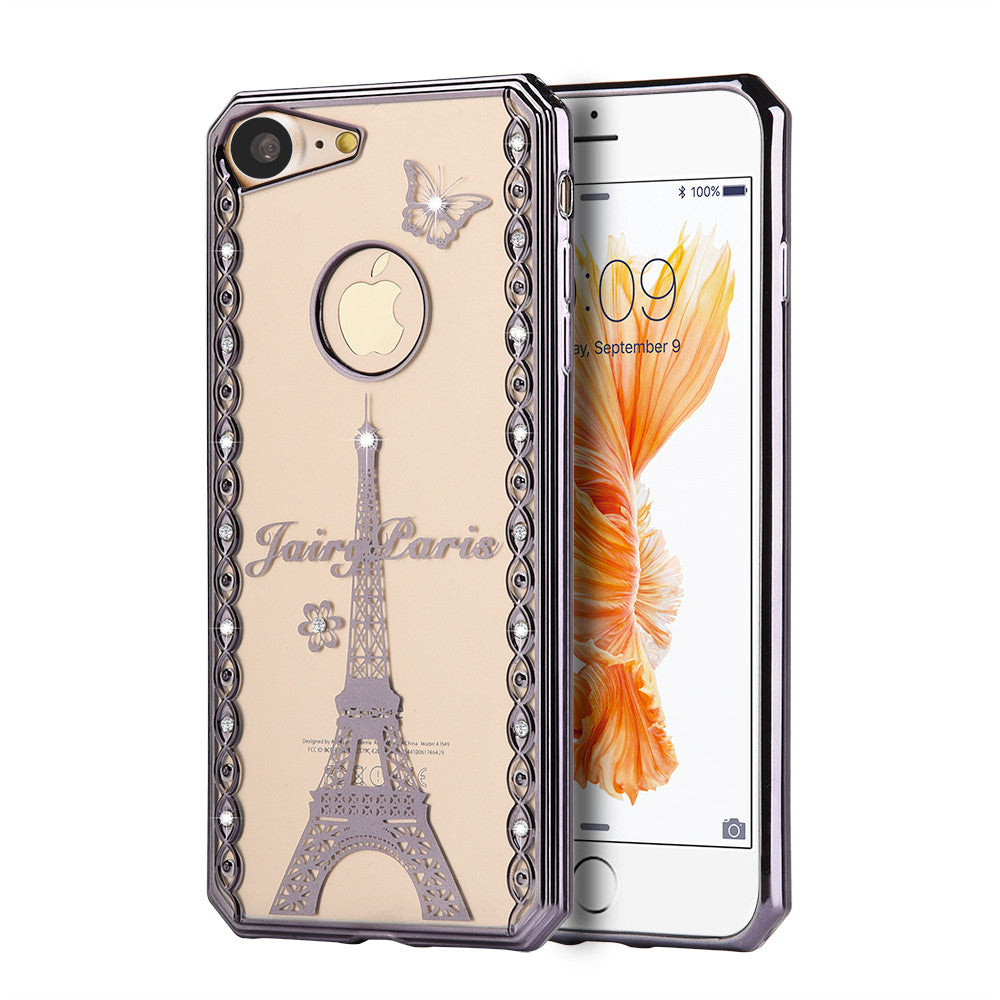 APPLE IPHONE DIAMOND SWIRL ELECTOPLATED CHROME TPU CASE - FAIRY PARIS