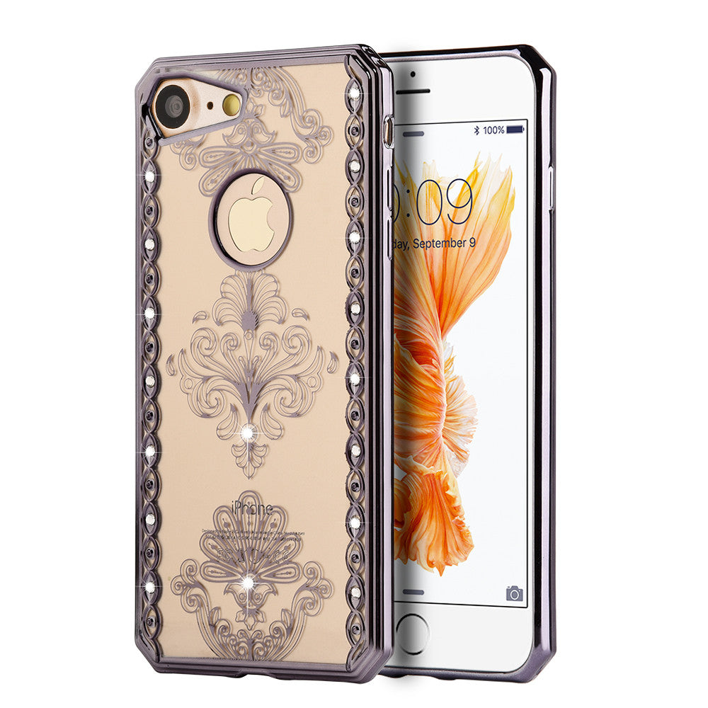 APPLE IPHONE DIAMOND SWIRL ELECTOPLATED CHROME TPU CASE - ROYAL FLORAL