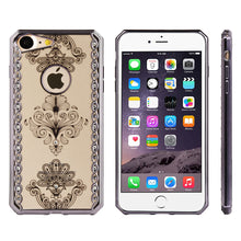 Load image into Gallery viewer, APPLE IPHONE DIAMOND SWIRL ELECTOPLATED CHROME TPU CASE - ROYAL FLORAL