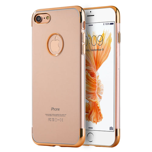 APPLE IPHONE 7 PLUS SKYFALL TRANSPARENT TPU CASE WITH ELECTROPLATED UPPER & LOWER FRAME - ROSE GOLD