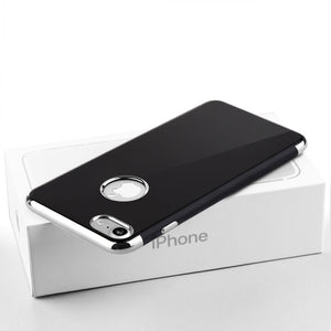 APPLE IPHONE 7 SKYFALL JET BLACK TPU CASE WITH ELECTROPLATED UPPER & LOWER FRAME - SILVER