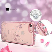 Load image into Gallery viewer, APPLE IPHONE TRANSPARENT TPU WITH CHROME CRYSTAL SKIN CASE BOWTIE