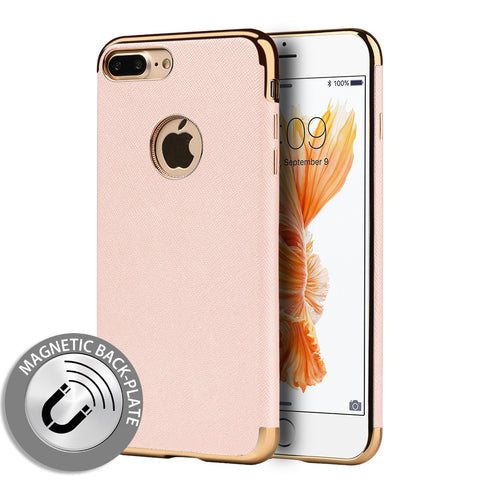 APPLE IPHONE SAFFIANO LUXURY TPU CASE BUILT-IN MAGNETIC METAL PLATE