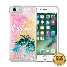Load image into Gallery viewer, FOR IPHONE 8 / 7 / 6 WATERFALL LIQUID SPARKLING QUICKSAND TPU CASE - CALI SUNSHINE