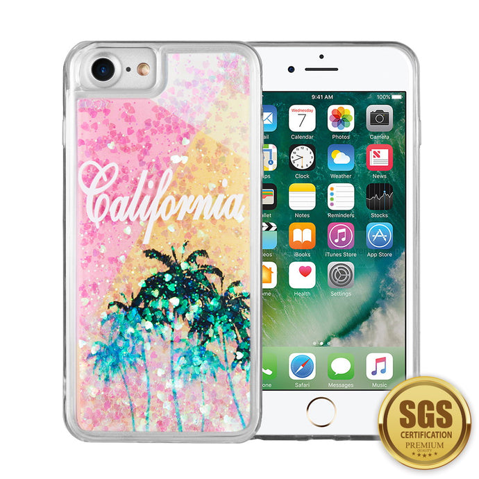 FOR IPHONE 8 / 7 / 6 WATERFALL LIQUID SPARKLING QUICKSAND TPU CASE - CALI SUNSHINE