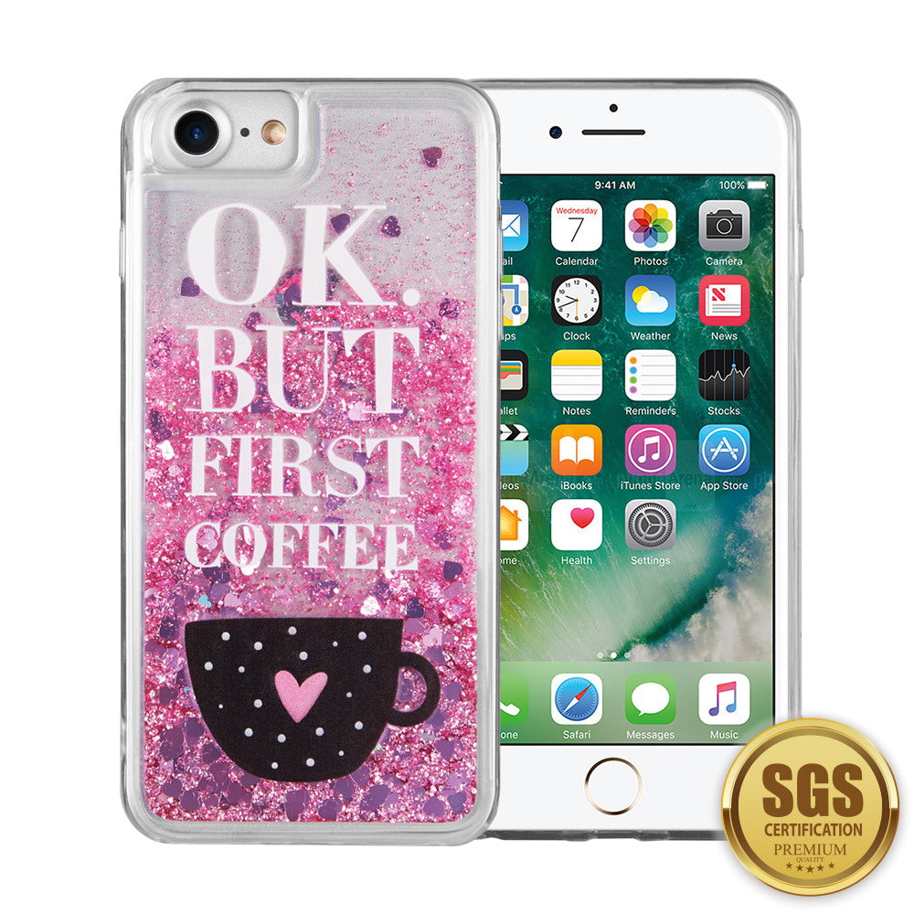 FOR IPHONE 8 / 7 / 6 PLUS WATERFALL LIQUID SPARKLING QUICKSAND TPU CASE - COFFEE FIRST