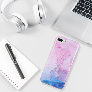 ARTISTRY COLLECTION FULL COVERAGE IMD MARBLE TPU CASE WITH GLITTER FOR IPHONE  - MAGENTA