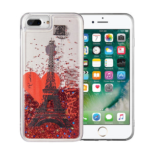 FOR IPHONE 8 / 7 / 6 PLUS WATERFALL LIQUID SPARKLING QUICKSAND TPU CASE - ROMANCE IN PARIS