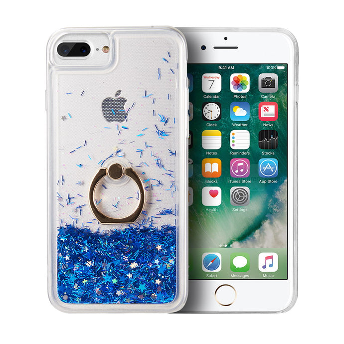 WATERFALL RING LIQUID SPARKLING QUICKSAND TPU CASE - BLUE