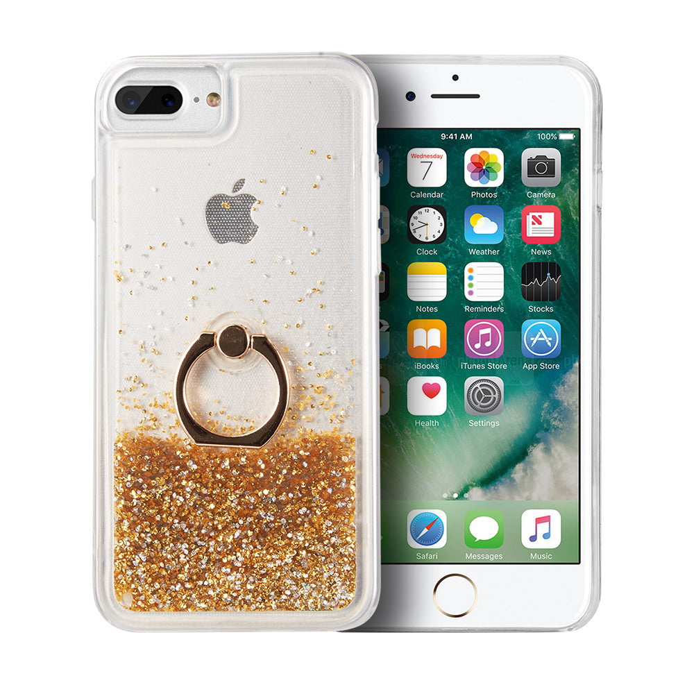WATERFALL RING LIQUID SPARKLING QUICKSAND TPU CASE - GOLD / GREEN