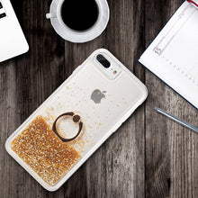 Load image into Gallery viewer, WATERFALL RING LIQUID SPARKLING QUICKSAND TPU CASE - GOLD / GREEN