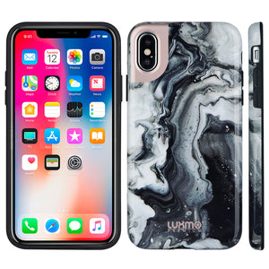 PREMIUM MARBLICIOUS COLLECTION APPLE IPHONE X MARBLE SHINE DESIGN UV COATED TPU CASE - BLACK SWIRL MARBLE
