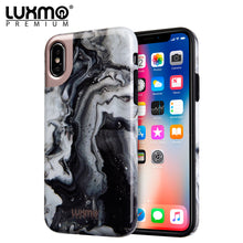 Load image into Gallery viewer, PREMIUM MARBLICIOUS COLLECTION APPLE IPHONE X MARBLE SHINE DESIGN UV COATED TPU CASE - BLACK SWIRL MARBLE