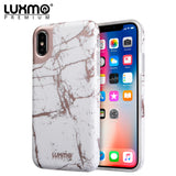 PREMIUM MARBLICIOUS COLLECTION APPLE IPHONE X MARBLE SHINE DESIGN UV COATED TPU CASE - WHITE ROSE MARBLE