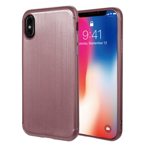 APPLE IPHONE X SOFT TPU CASE WITH SATIN FINISH SURFACE - ROSE GOLD