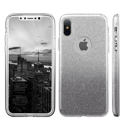 APPLE IPHONE X STARRY DAZZLE LUXURY TPU COVER CASE - SILVER BLACK