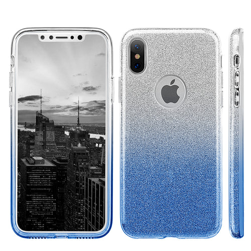 APPLE IPHONE X STARRY DAZZLE LUXURY TPU COVER CASE - SILVER BLUE